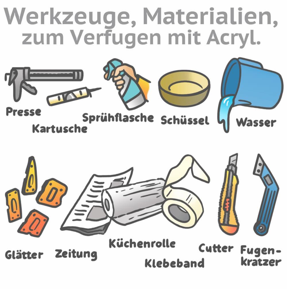 Werkzeuge zum Verfugen mit Acryl