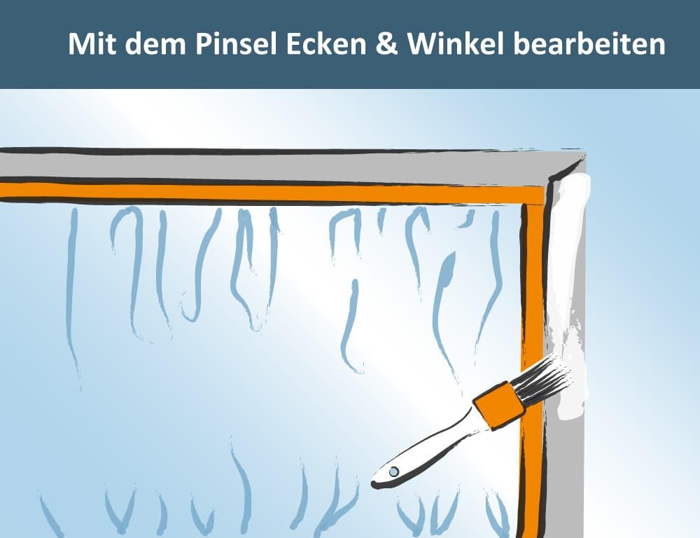 Anstrich Putzfassade: Mit dem Pinsel Ecken und Winkel bearbeiten