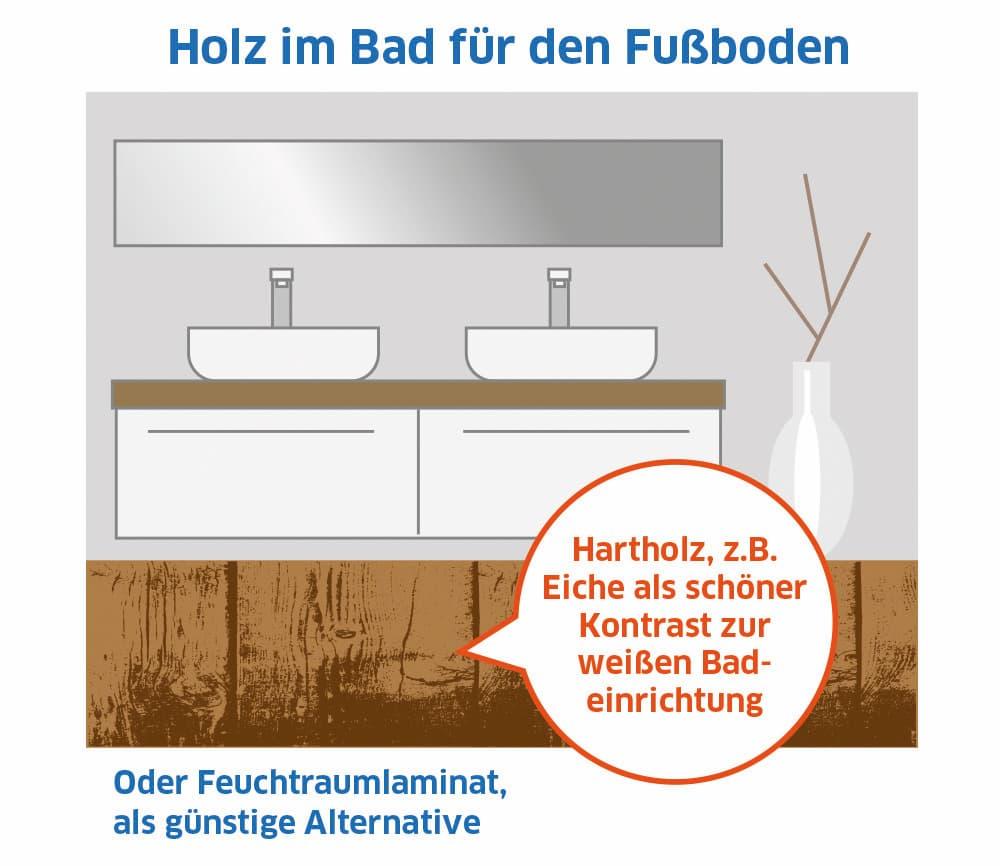 Holz ist auch im Badezimmer möglich
