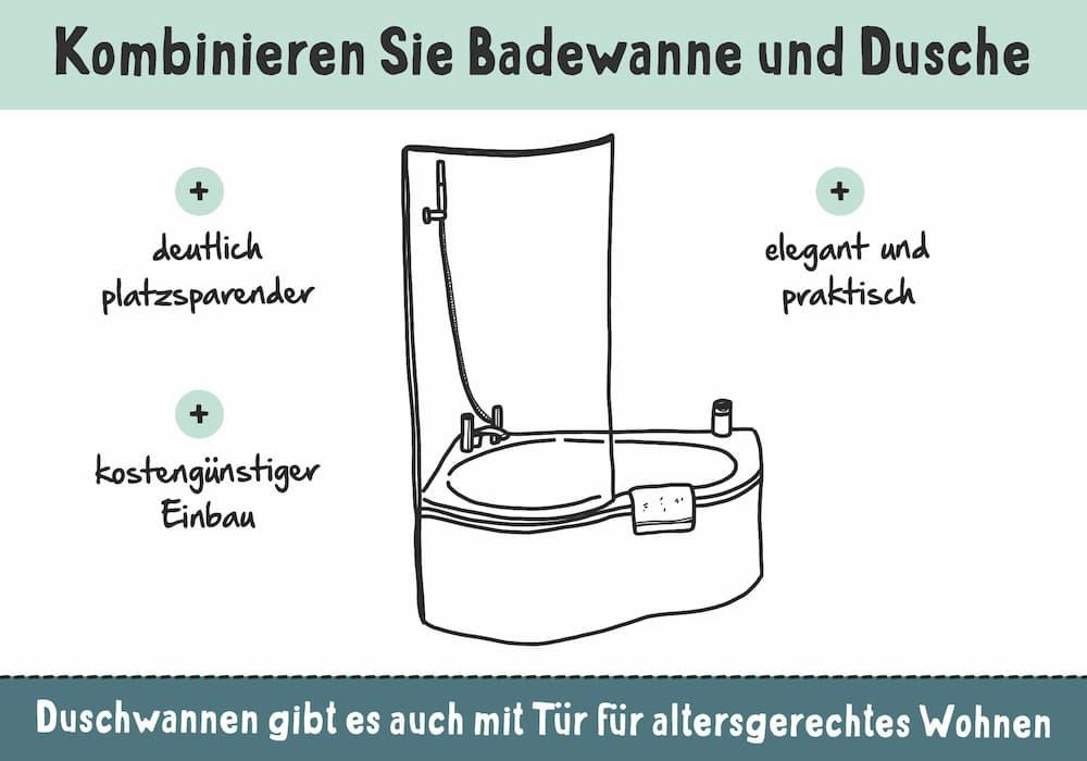 Platzsparend: Kombinieren Sie Badewanne und Dusche
