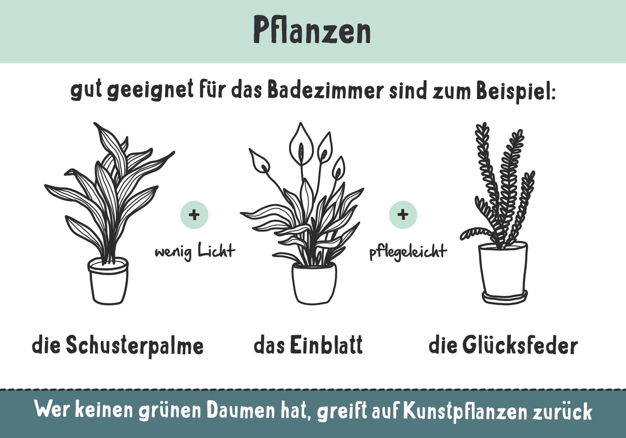 Mit Pflanzen wird das Bad gemütlich und wohnlich