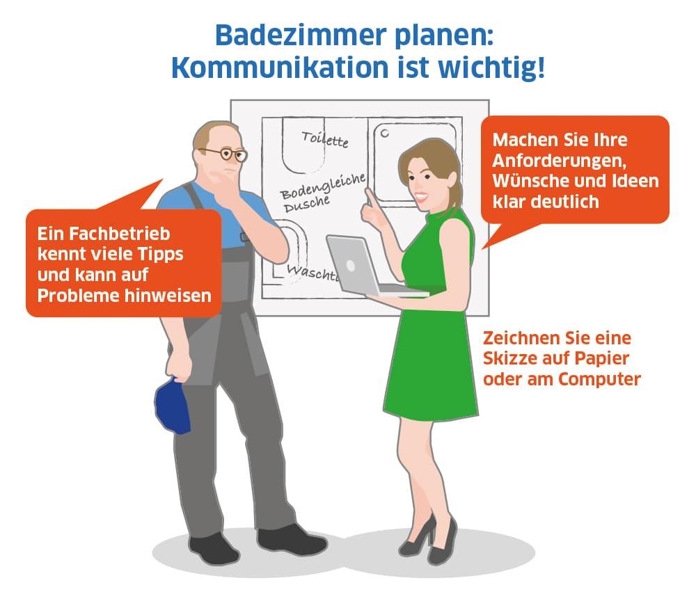 Badezimmer planen: Kommunikation mit dem Fachbetrieb ist wichtig
