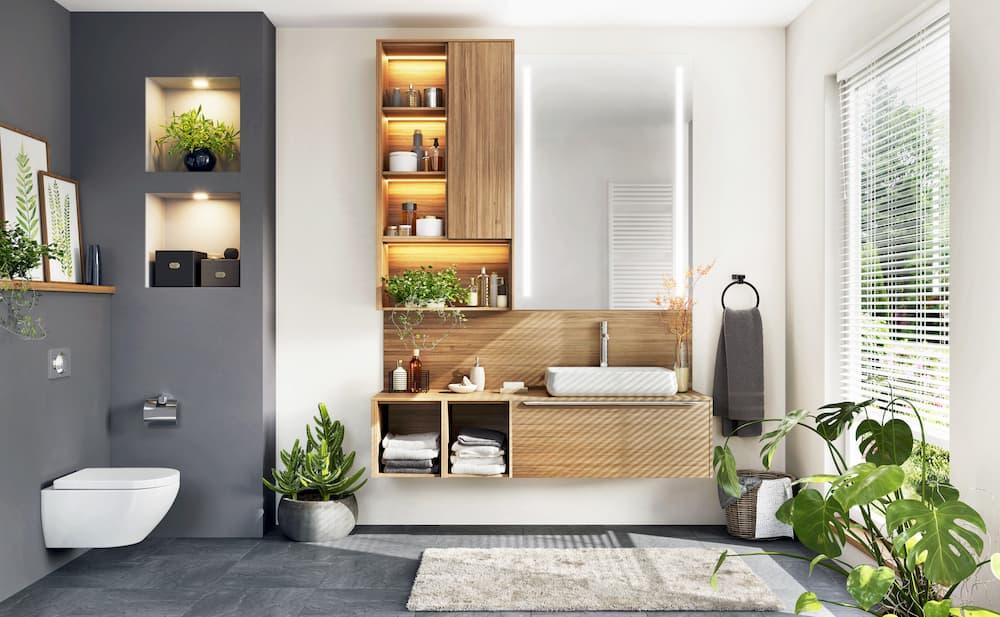 Modernes Badezimmer mit viel Stauraum © stock.adobe.com