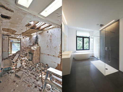 bilder badezimmer links unsaniert rechts saniert ac pbombaert fotoliacom moderner