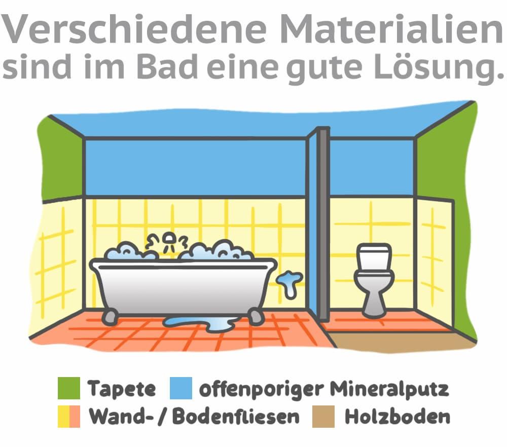 Verschiedene Materialien sind im Bad eine gute Lösung