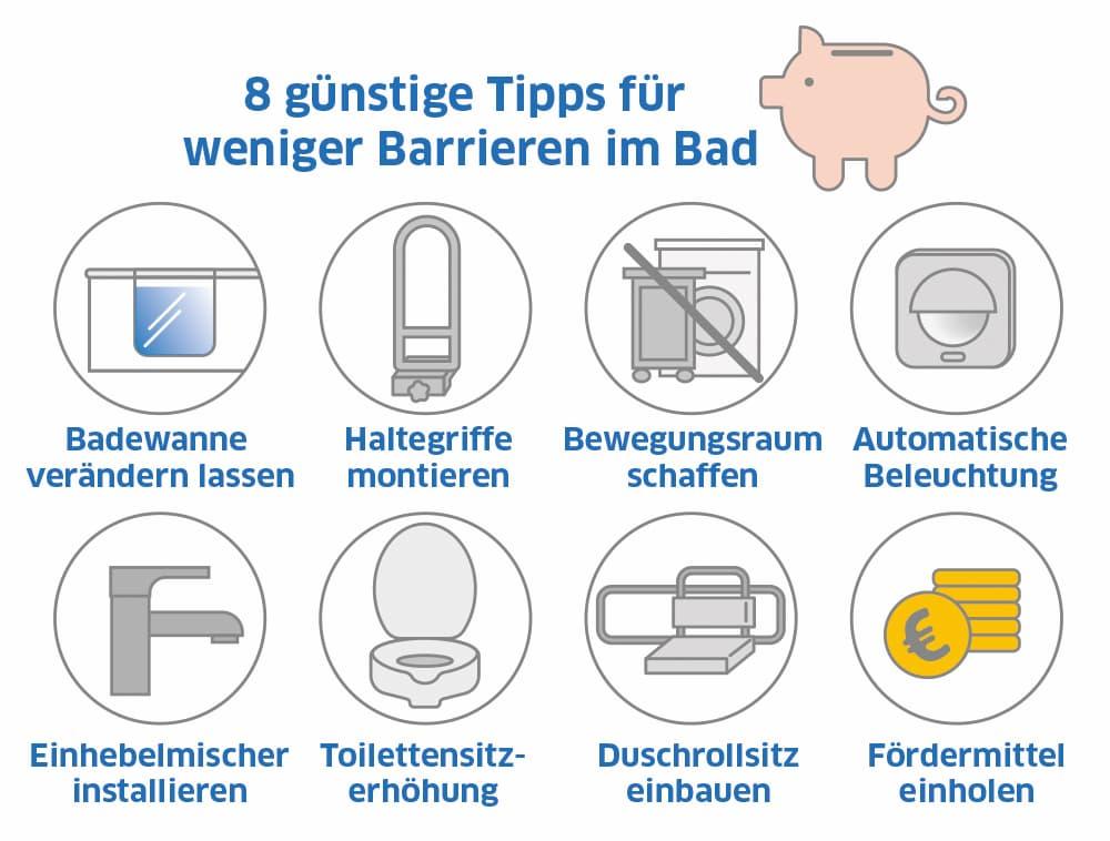 Günstige Tipps für weniger Barrieren im Badezimmer