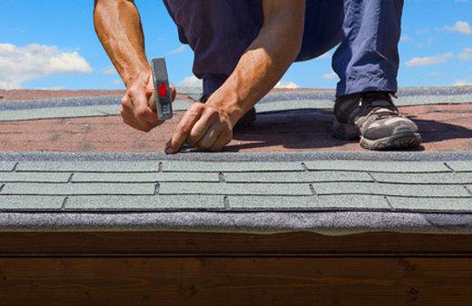 Erneuerung vom Gartenhausdach mit gemusterter Dachpappe © SusaZoom, fotolia.com