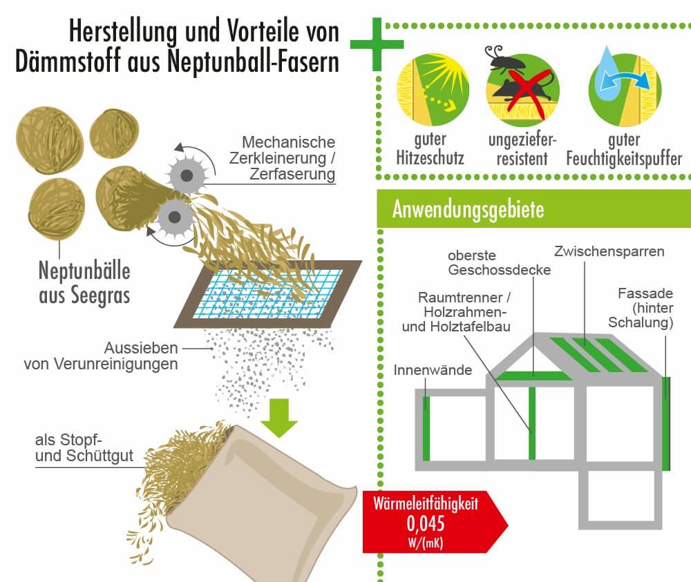 Herstellung und Vorteile des Dämmstoffs Neptunballfasern