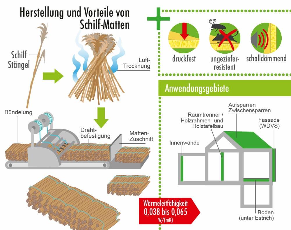 Herstellung und Vorteile des Dämmstoffs Schilf
