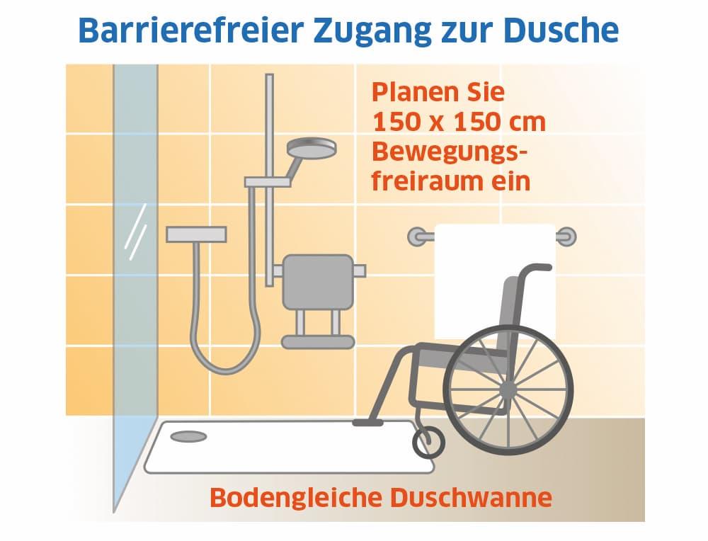 Barrierefreier Zugang zur Dusche