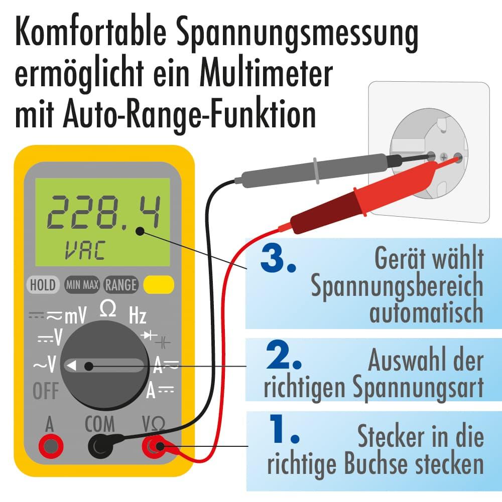 Komfortable Spannungsmessung ermöglichst ein Multimeter mit Auto-Range-Funktion