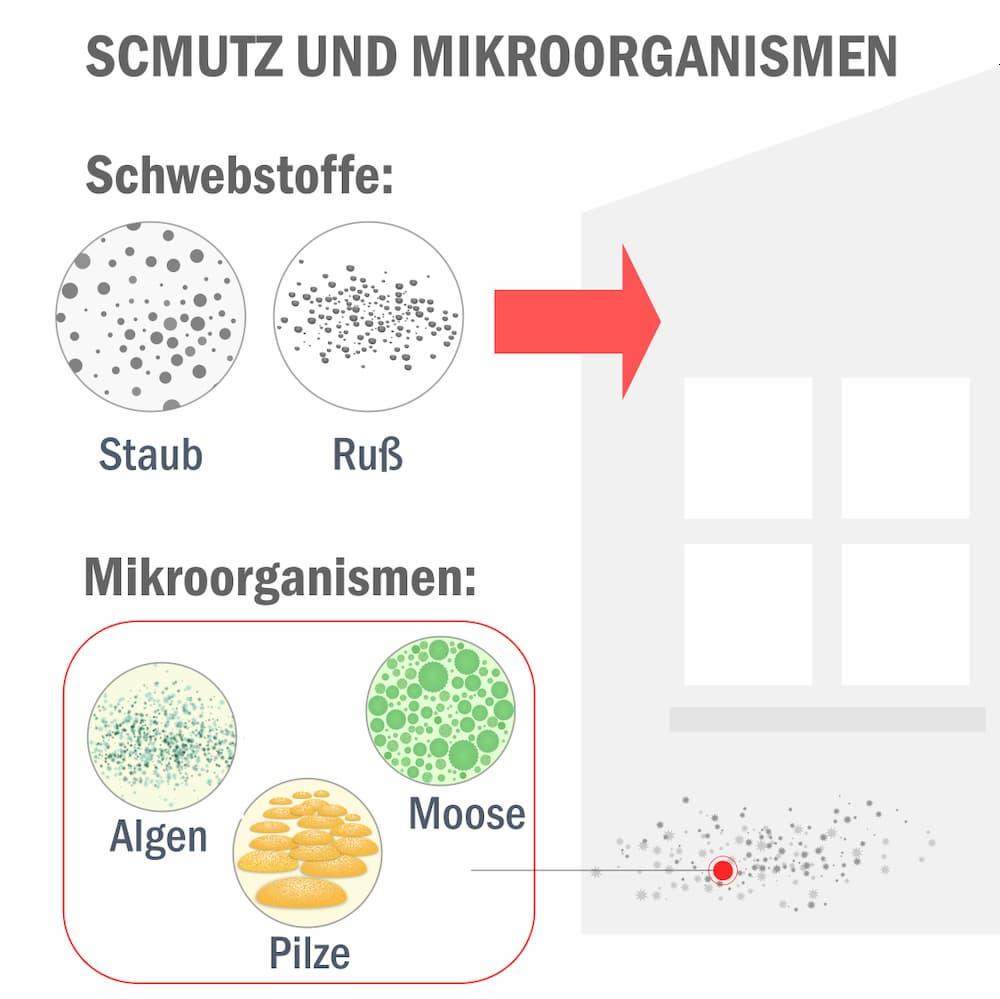 Fassaden Reinigung: Unterscheidung von Schwebstoffen und Mirkoorganismen