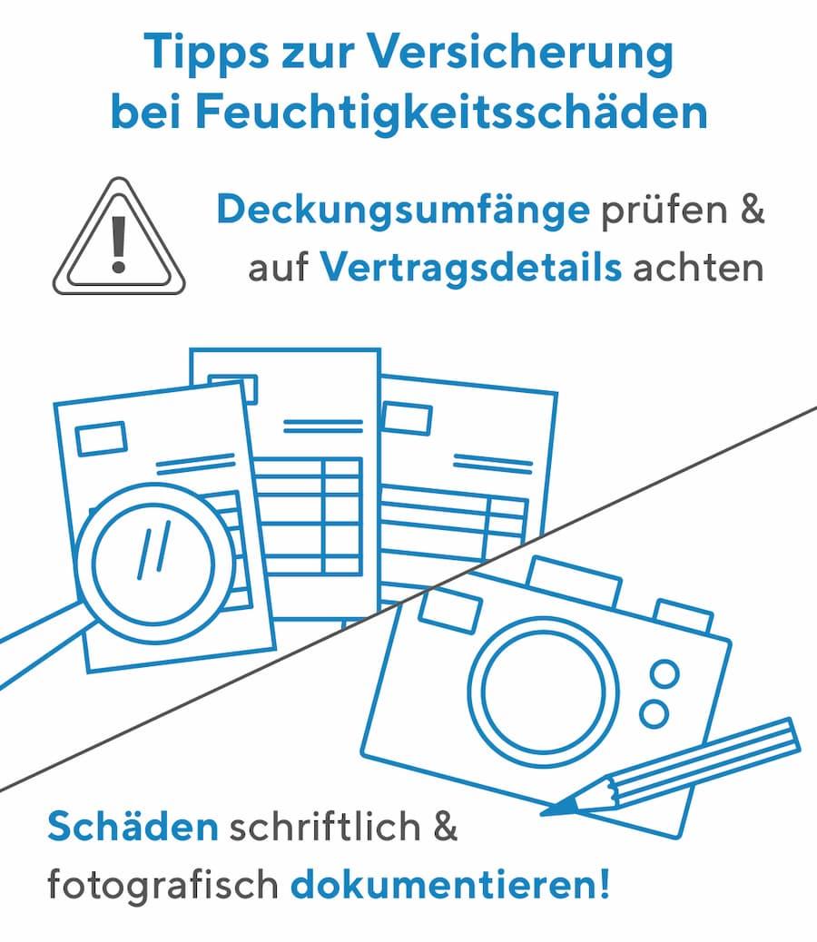 Tipps zur Versicherung bei Feuchtigkeitsschäden