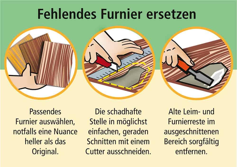 Fehlendes Funier ersetzen: Schritte 1 - 3