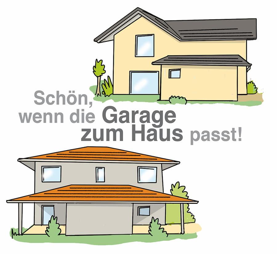 Anbau Garage kann Fassengestaltung des Hauses aufnehmen