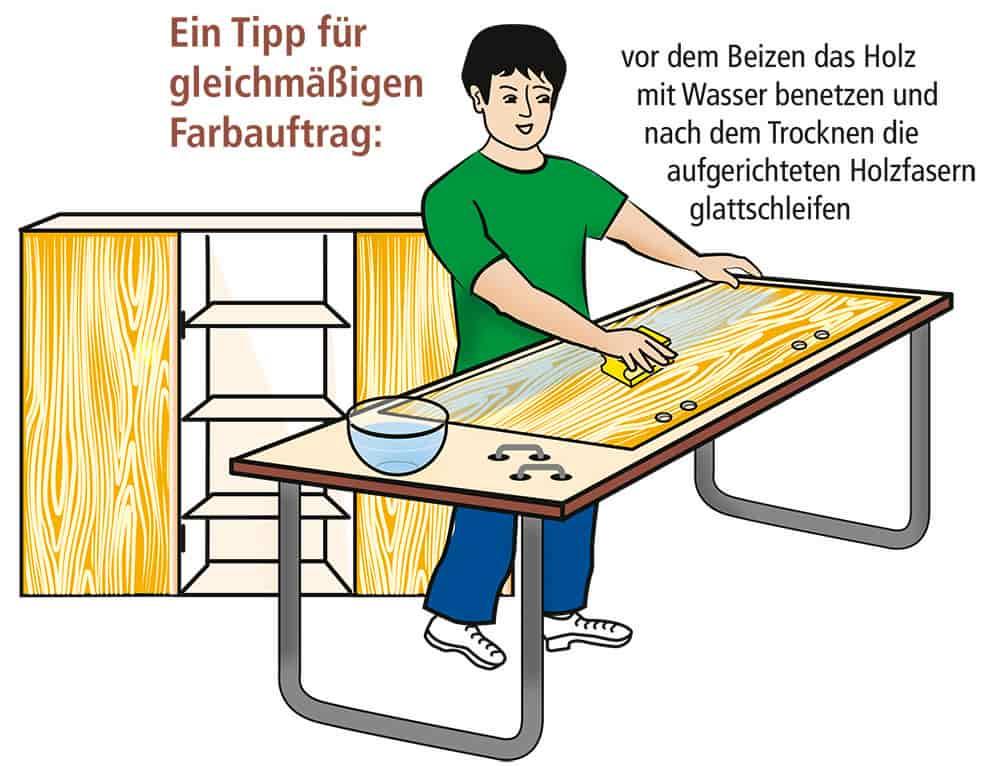 Holz beizen: Tipp für gleichmäßigen Farbauftrag