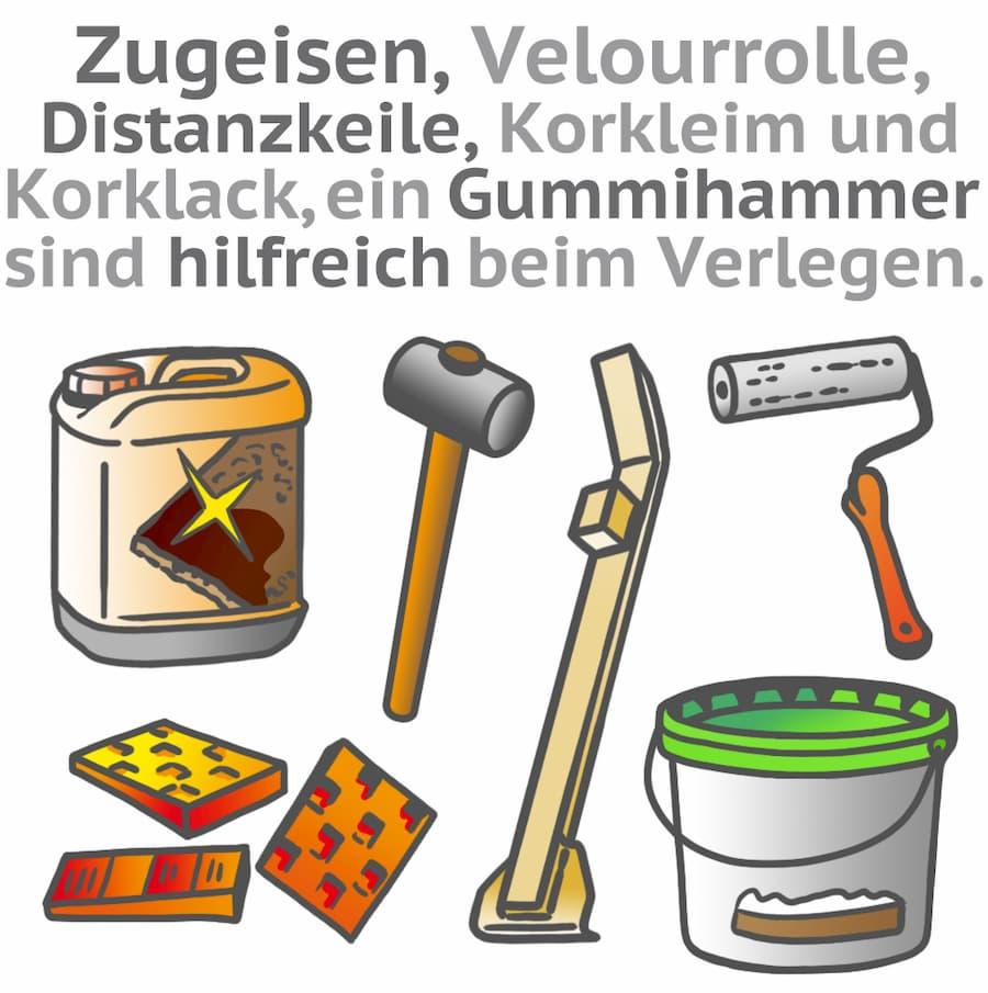 Korkboden verlegen: Wichtige Werkzeuge