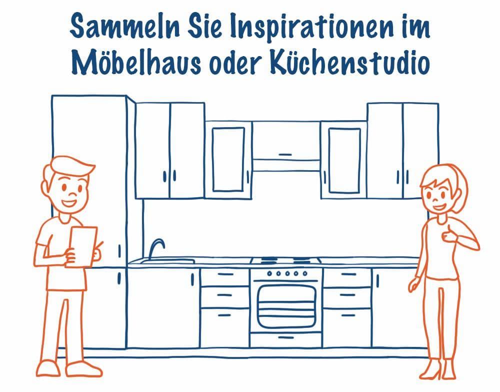 Sammeln Sie Inspirationen im Möbelhaus oder Küchenstudio