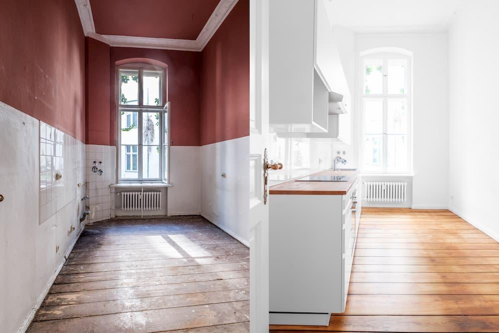 Küchenraum: Vergleich unsaniert, saniert © hanohiki, stock.adobe.com