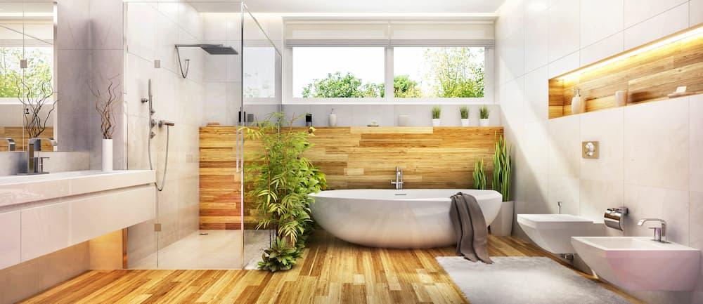 Modernes Bad mit freistehender Badewanne © slavun, stock.adobe.com