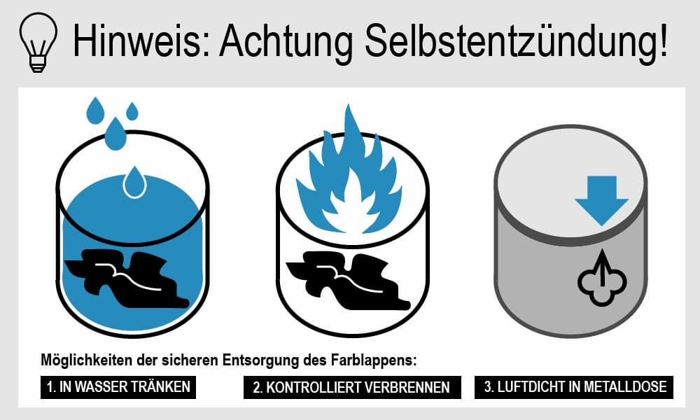 Vorsicht vor Selbstentzündung der Öllappen