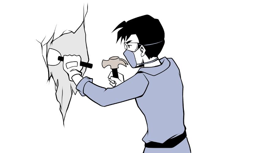 Putz entfernen mit Hammer und Meisel