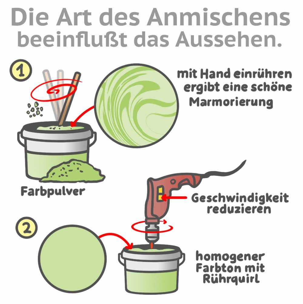 Rollputz einfärben: Marmoriert oder homogen