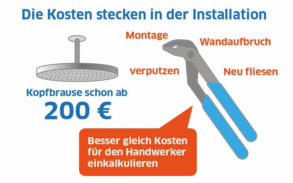 Die Installation der Regendusche ist in der Regel teurer als eine normale Duschbrause