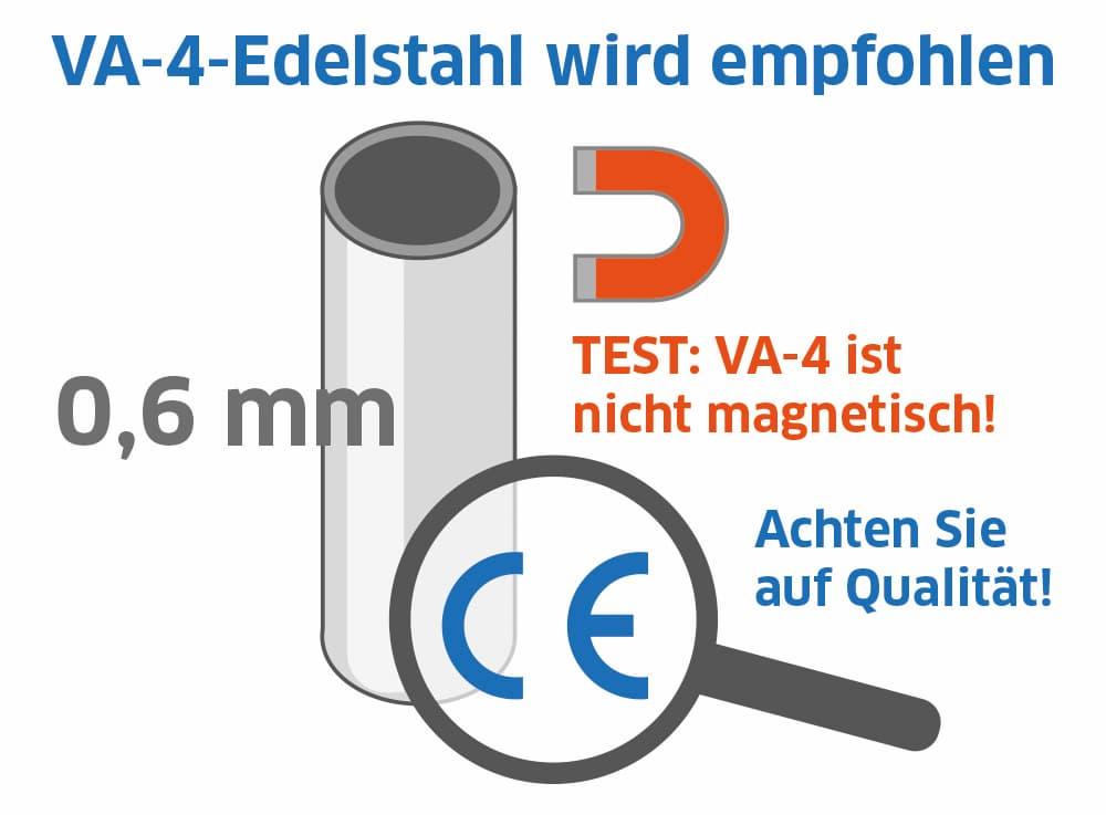 Edelstahl Schornstein: VA-4-Edelstahl wird empfohlen
