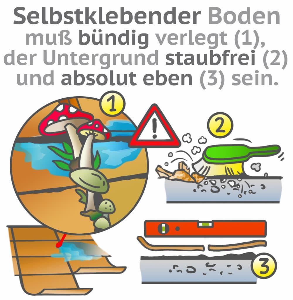 Selbstklebende Bodenbeläge: Voraussetzungen