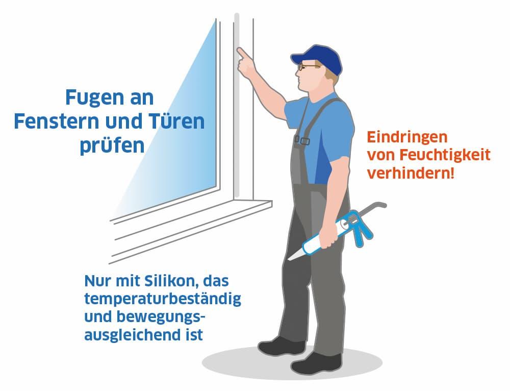 Silikonfugen an Fenstern und Türen