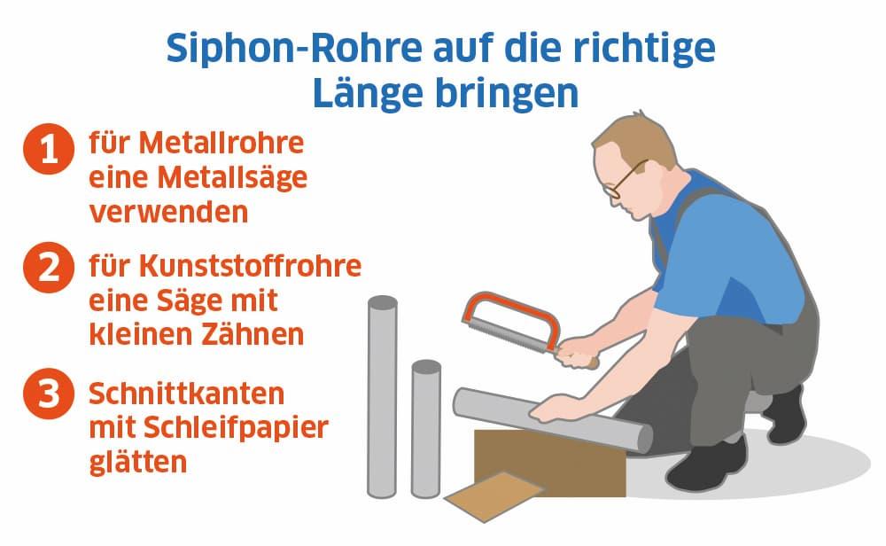 Siphon-Rohre auf die richtige Länge bringen
