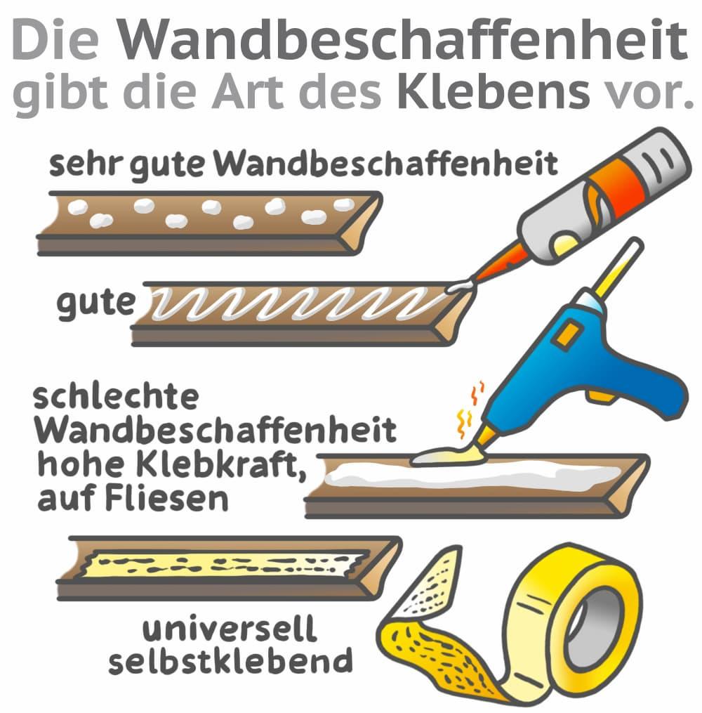 Sockelleiste kleben: Wandbeschaffenheit bestimmt Klebereinsatz