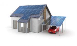 Solaranlage auf Carport und Garage