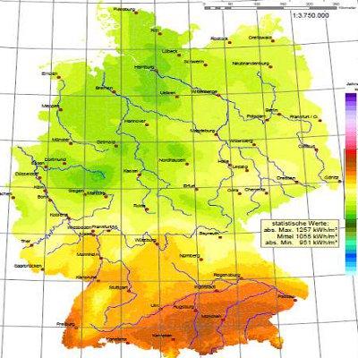 Sonneneinstrahlung Deutschland © Deutscher Wetter Dienst