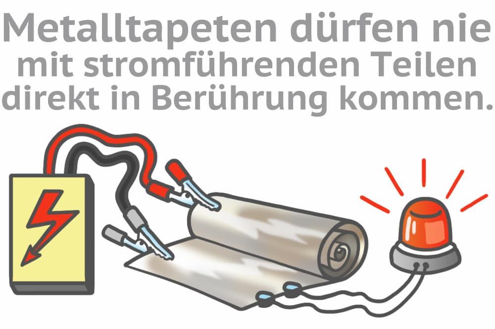 Metalltapeten dürfen nicht mit stromführenden Teilen direkt in Berührung kommen