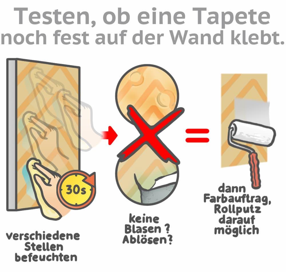 Bevor Sie Tapete überputzen: Testen Sie ob die Tapete noch fest an der Wand klebt