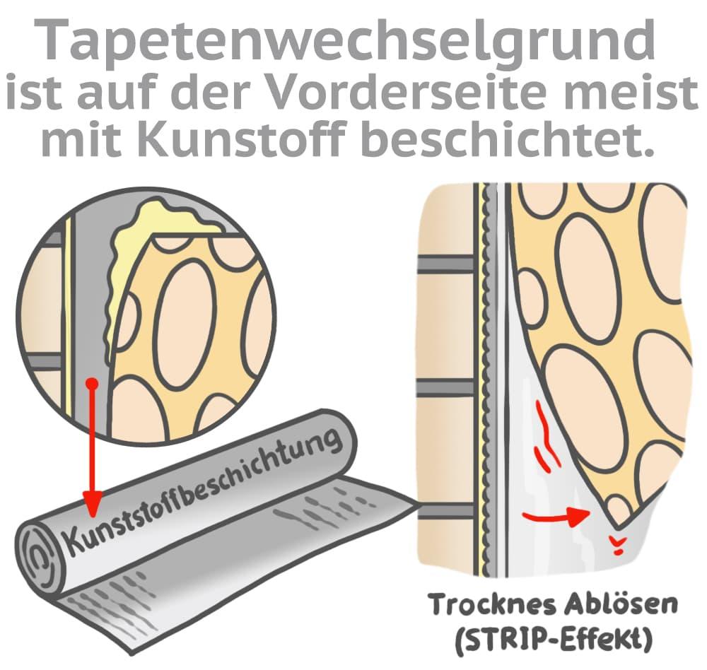 Tapetenwechselgrund ist auf der Vorderseite meist mit Kunststoff beschichtet