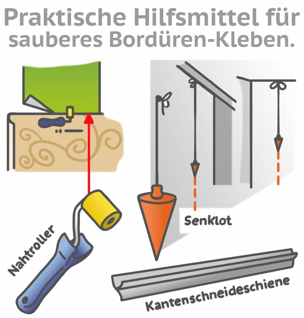 Praktische Hilfsmittel für sauberes Kleben von Bordüren