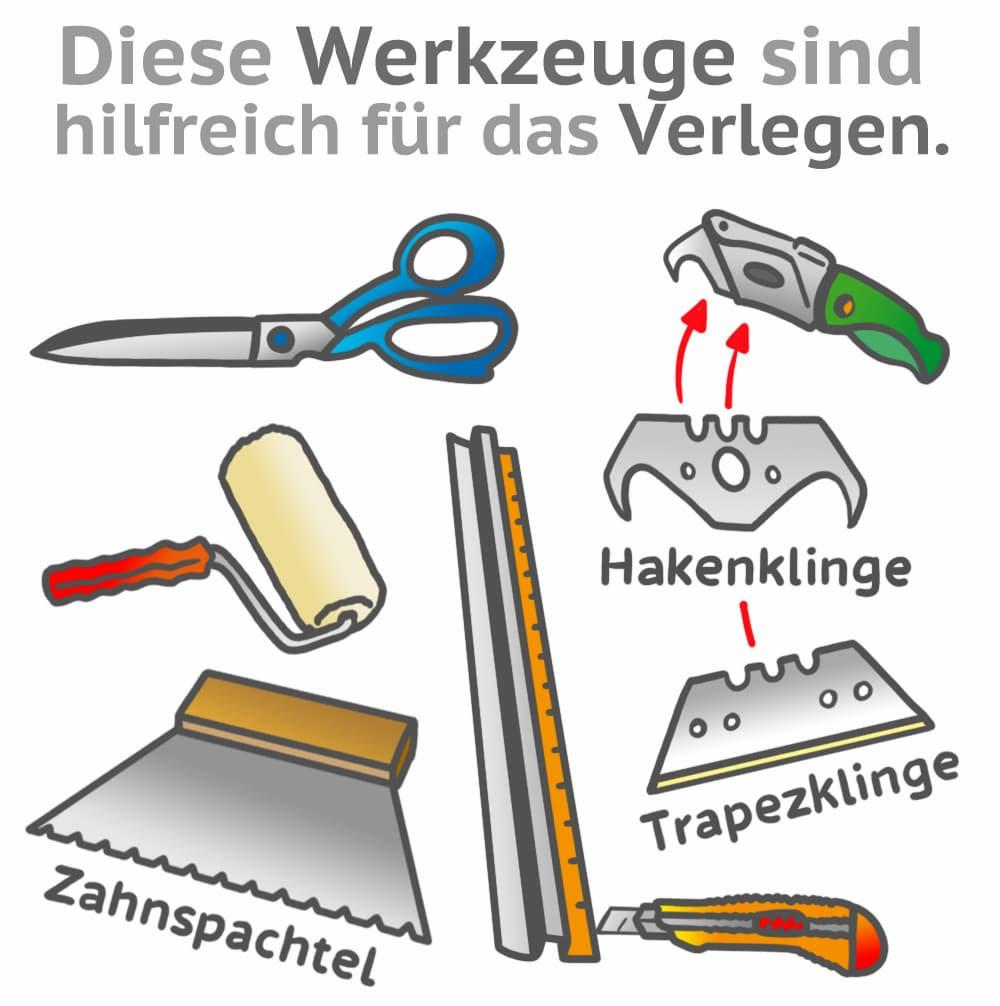 Teppich verlegen: Wichtige Werkzeuge