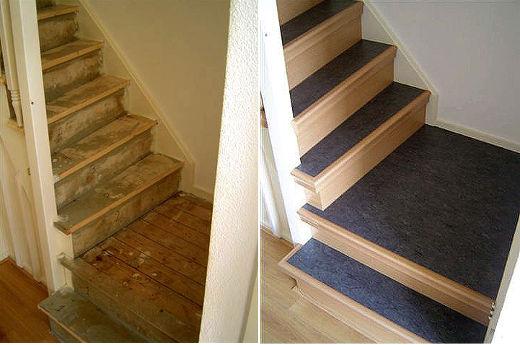 Treppe Unsaniert   Saniert © Dress Treppenrenovierungssysteme GmbH