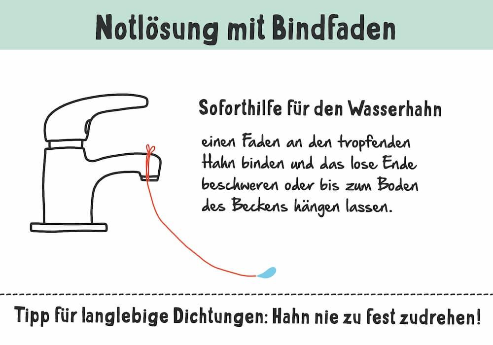 Tropfender Wasserhahn: Notlösung mit Bindfaden