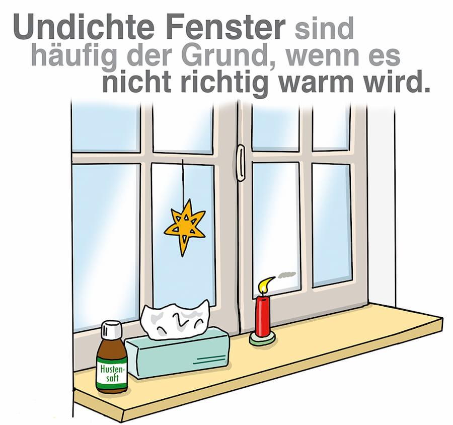 Undichte Fenster führen zu kalten Räumen