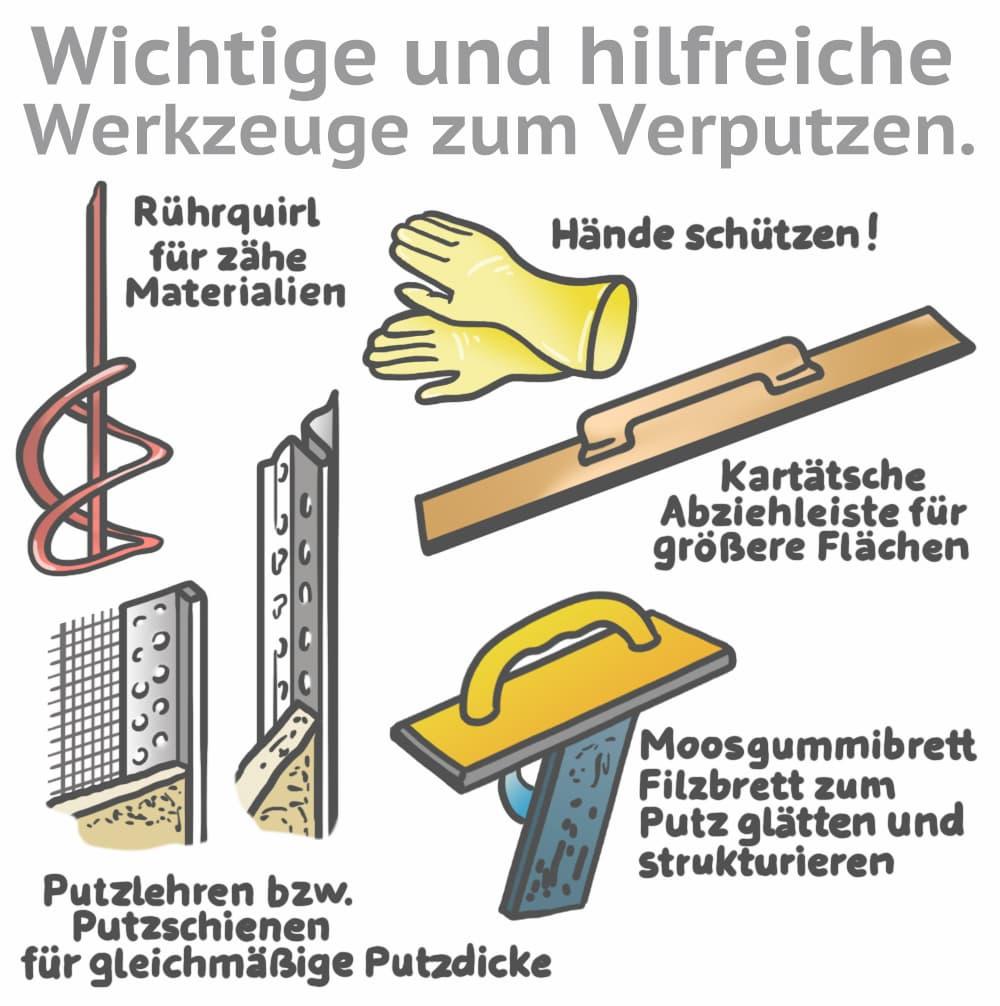 Wichtige und hilfreiche Werkzeuge zum Verputzen