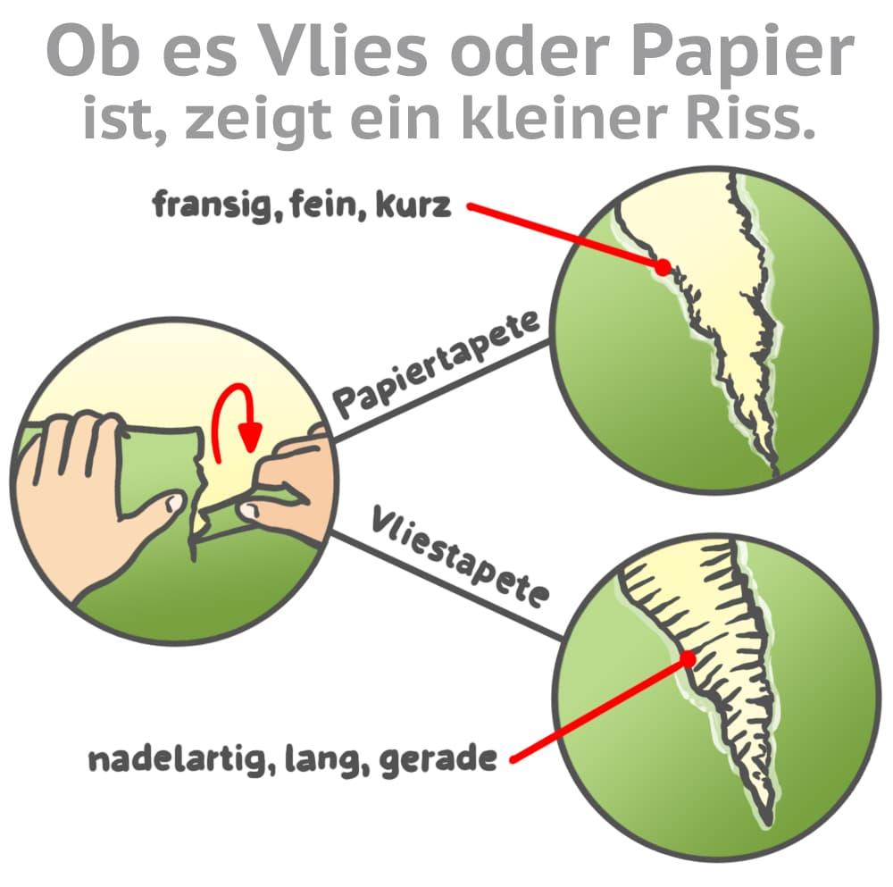 Ob es sich um eine Vlies- oder Papiertapete handelt kann ein kleiner Riss zeigen