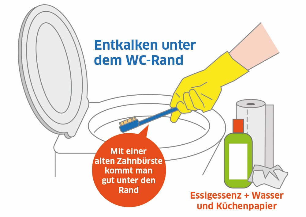 WC: Entkalken Sie auch regelmäßig unter dem WC-Rand