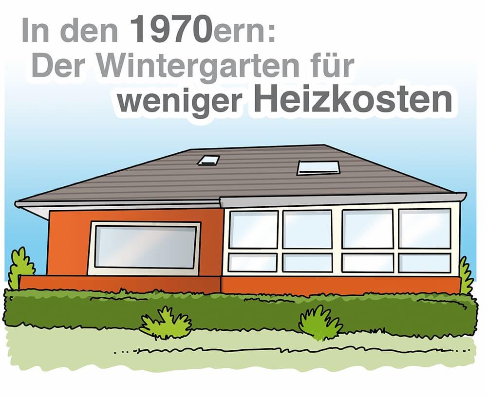 Wintergarten in den 1970igern: Maßnahme zum Energiesparen