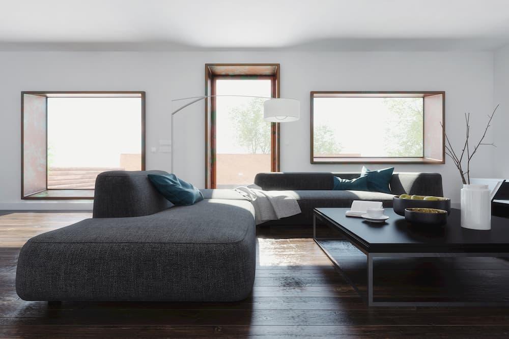 Wohnzimmer mit dunklem Bodenbelag © XtravaganT, stock.adobe.com